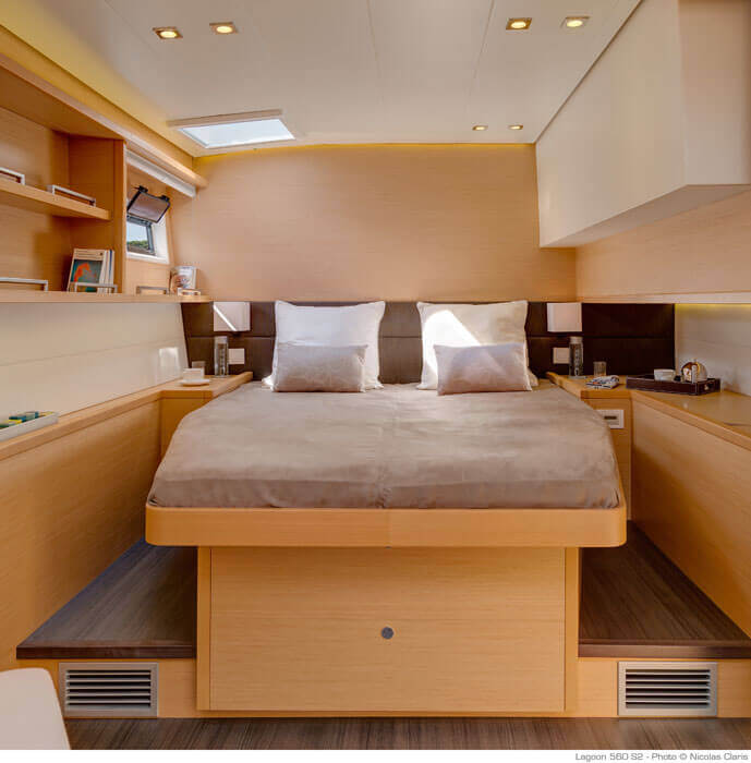 bedroom inside the yacht