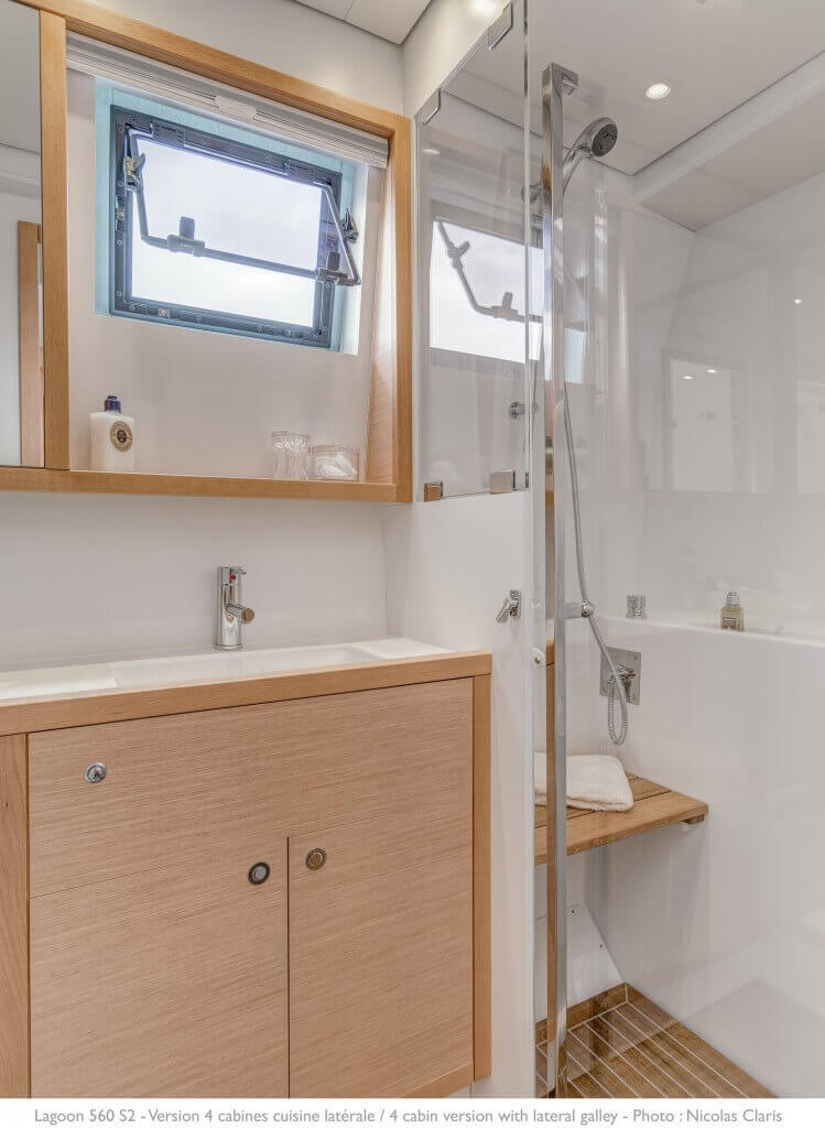 shower inside a yacht