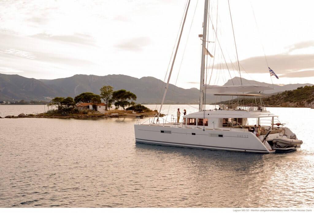 yacht near an island