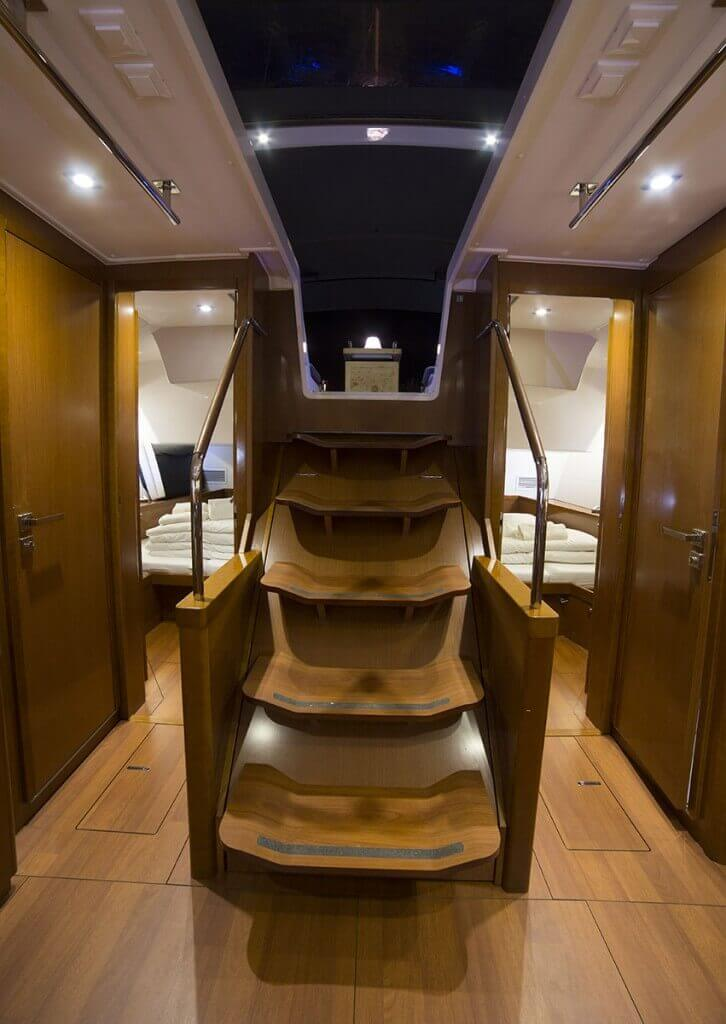 stairs to the underdeck of a yacht