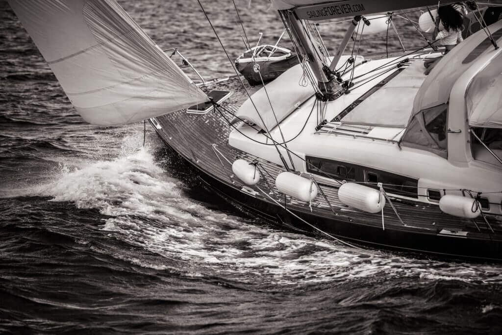 yacht sailing dramatic closeup