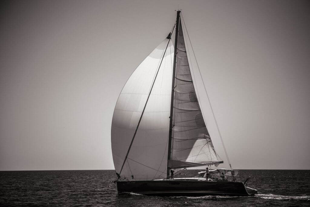 beautiful yacht in black and white