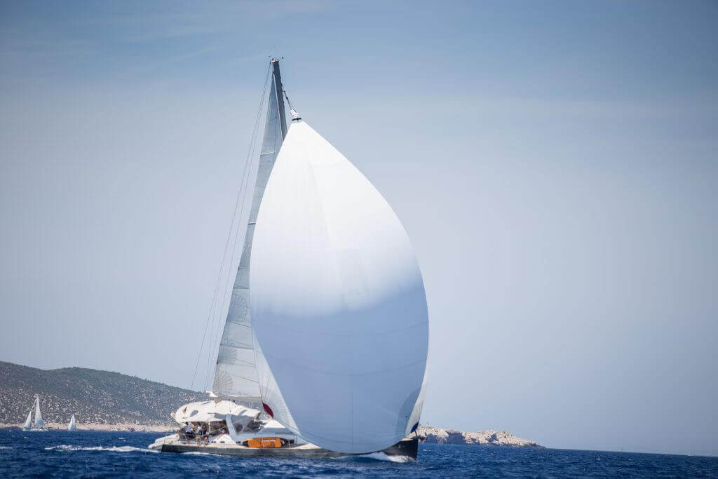 stretched sail of a yacht
