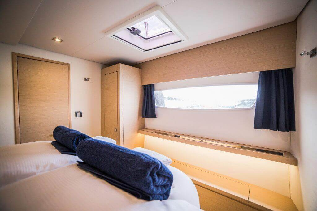 bedroom cabin in a yacht second deck