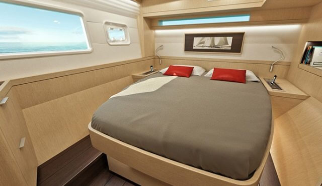 luxurious bed in a yacht