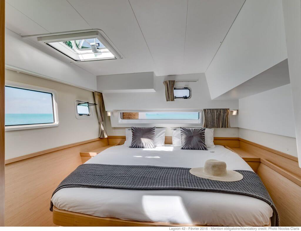 bed inside a yacht