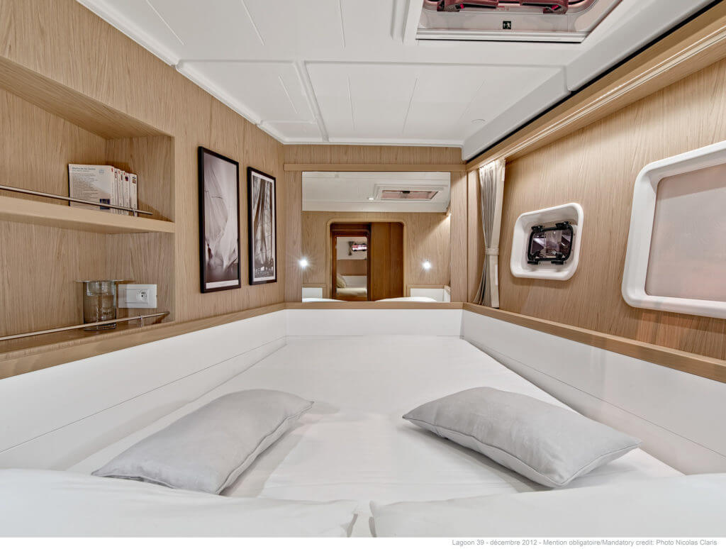 bed in the second deck of a yacht