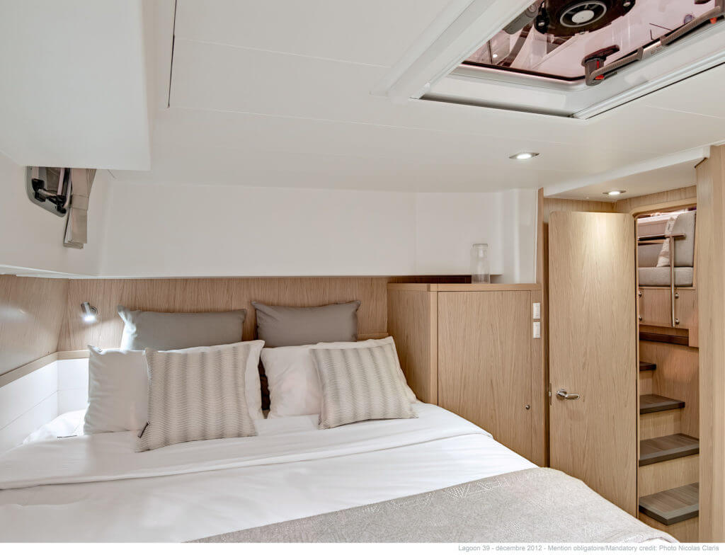 luxurious bed in the second deck of a yacht