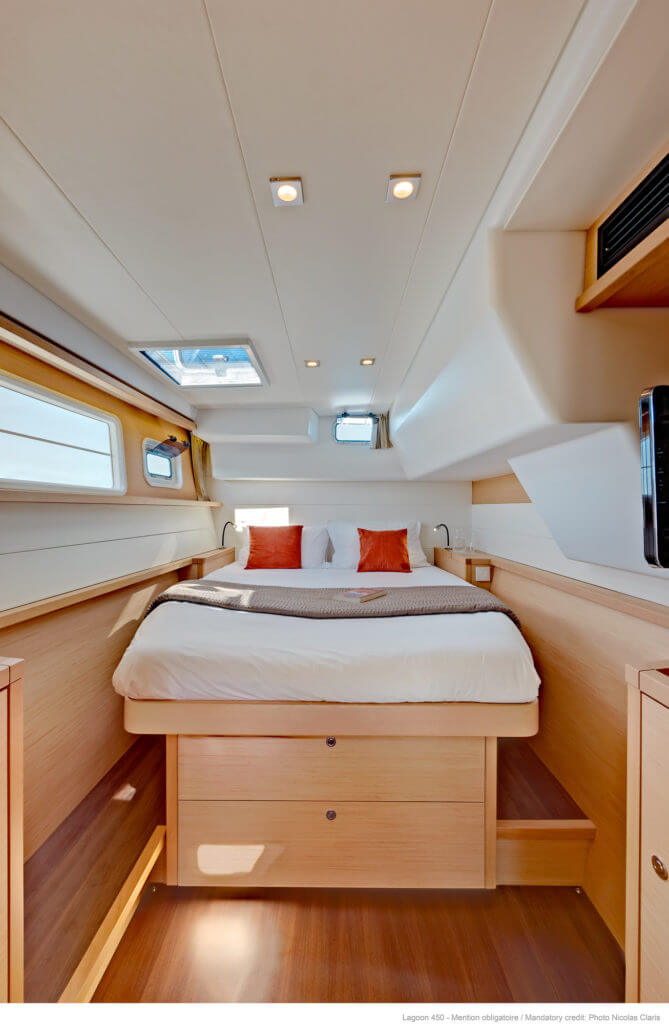 sleeping room in a luxurious yacht
