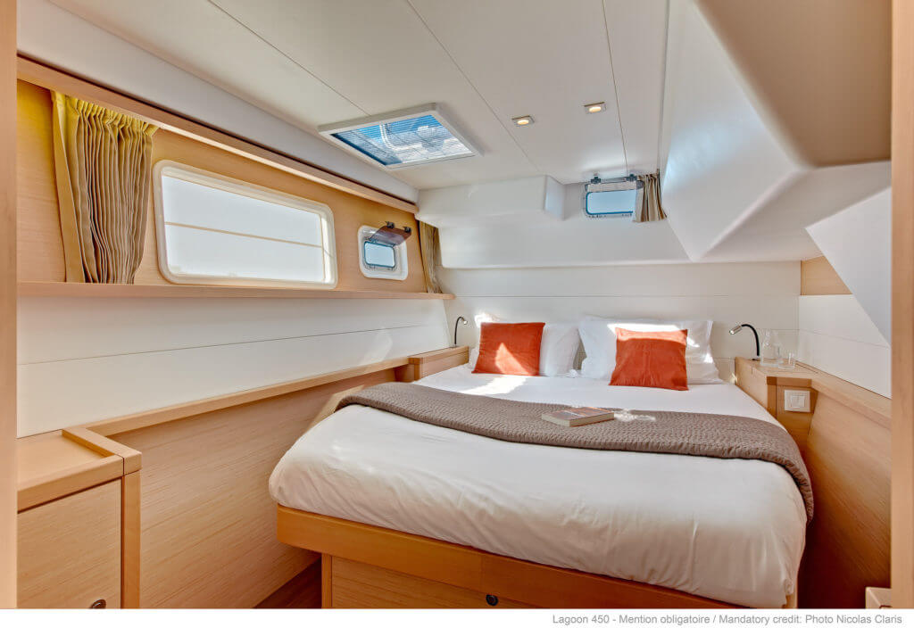bed in a luxurious yacht
